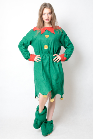 Young female model, Christmas photo session. Twenty years old girl in elf costume.