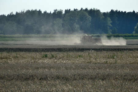 Summer season in Poland. Combine-harvester moving in the field, collecting grains. Farmland covered with dust.