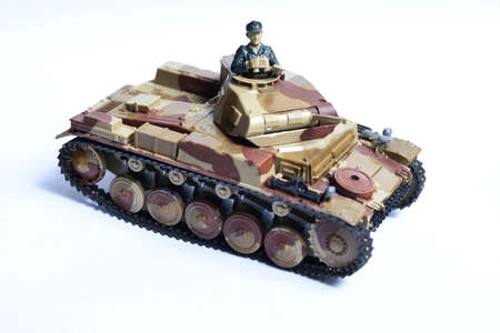 German light tank from World War II. Plastic glued vehicle, hand painted.