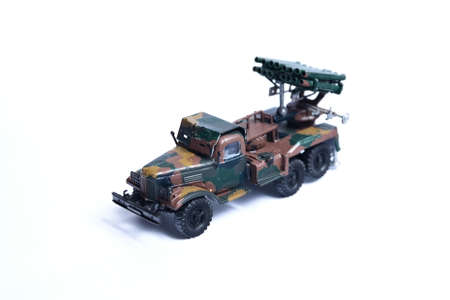 Russian truck with rocket luncher from World War II. Plastic glued toy, hand painted.