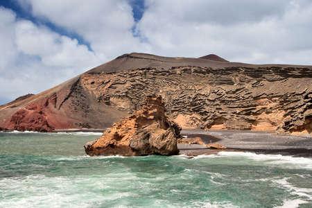 golfo: El Golfo is a crater half flooded by sea, Lanzarote.