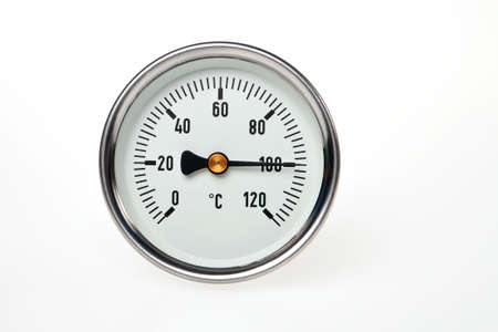 boiling point: A circular thermometer on a white background with water boiling point temperature.