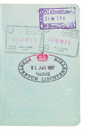 Passport entry, departure, Liechtenstein stamps. photo