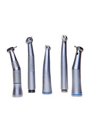 broca: Herramientas de taladro dental aisladas sobre fondo blanco.  Foto de archivo