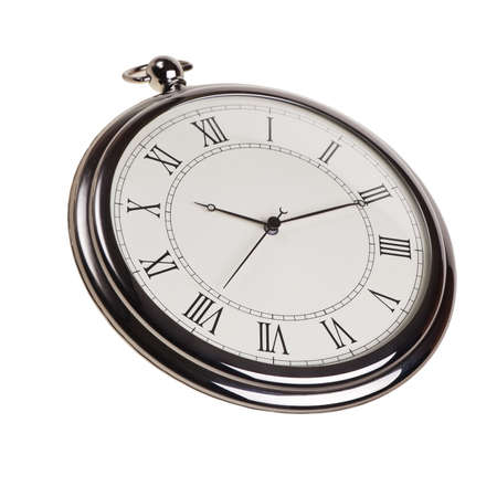 Retro pocket watch isolated over white background. photo