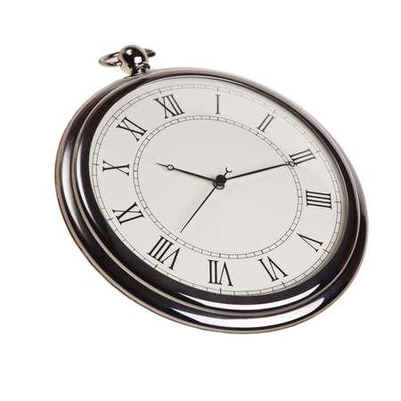 Retro pocket watch isolated over white background. photo