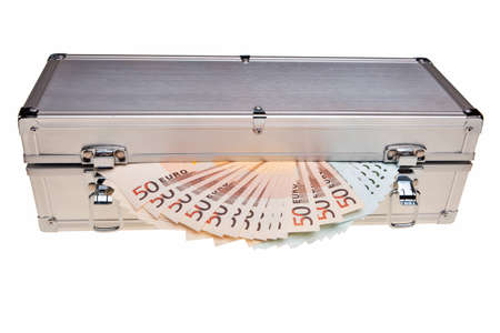 Euro banknotes in metal safe box over white background. photo