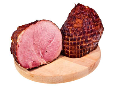 raw ham: Two big pieces of smoked delicious ham on wooden board.