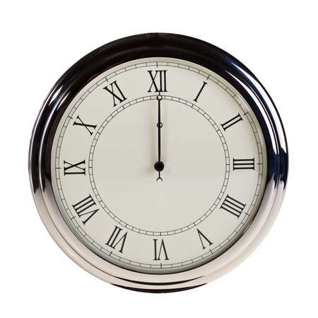 pocket watch: Midnight or noon on retro watch isolated over white background. Stock Photo