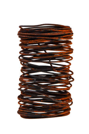 rusty wire: Bundle of iron rusty wire isolated over white background.
