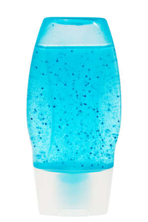 Blue shower gel in plastic transparent container isolated over white background.
