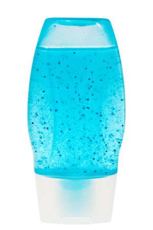 gel douche: Gel douche bleu dans un r�cipient en plastique transparent isol� sur fond blanc. Banque d'images