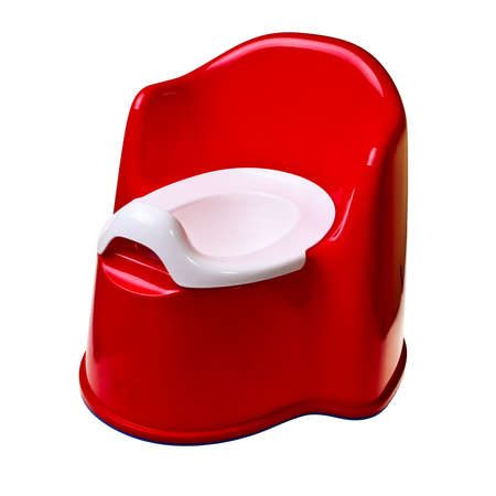 wee: Red plastic baby potty isolated over white background.
