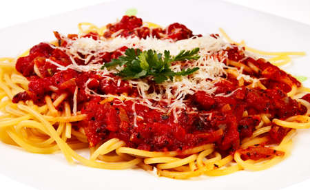 parmezan: Italian style pasta with sauce over white background.