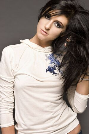 portrait of attractive brunette model with glamor make-up photo