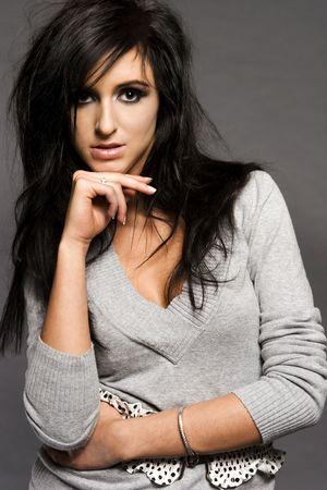 20 25: portrait of attractive brunette model with glamor make-up