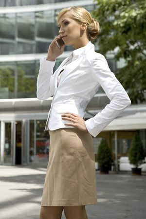 attractive and confident businesswoman talking on the phone Stock Photo - 3341490