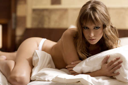 nude sexy girl: beautiful blonde woman Stock Photo