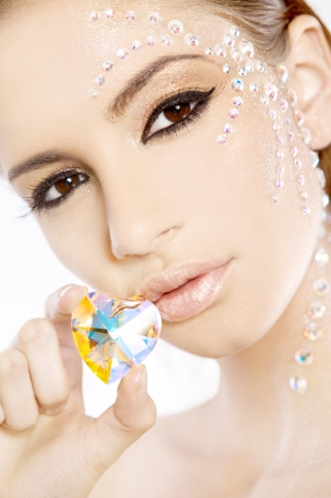 beautiful brunette lovely woman with diamond heart Stock Photo - 9696132