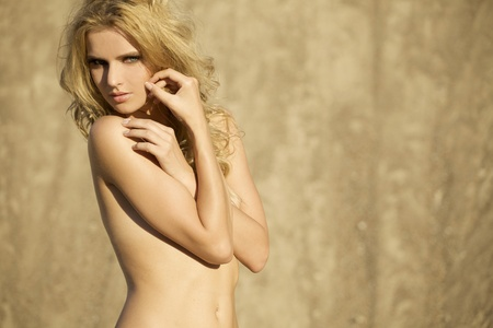 desnudo artistico: chica rubia sensualidad topless sobre fondo de arena