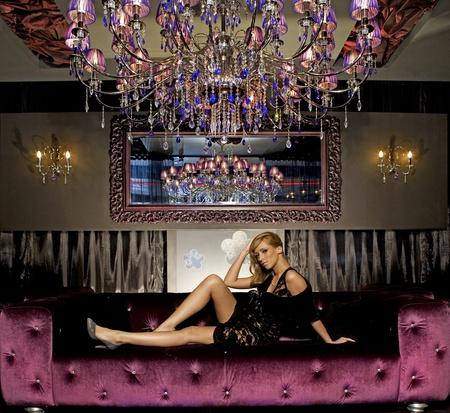 elegant blondie woman in club photo