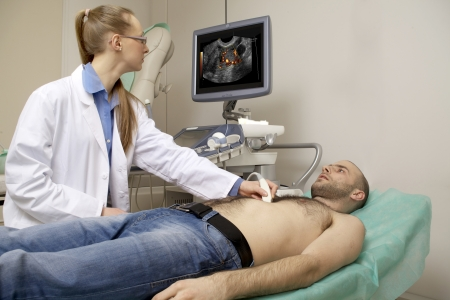 cardiac ultrasound examination testing on young man