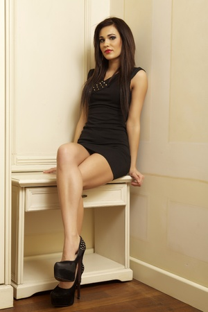 Beautiful and attractive young adult female brunette sensuality woman posing in black dress in apartment Stock Photo - 21305499