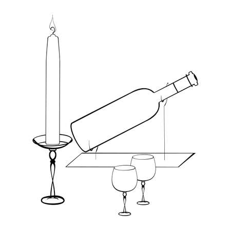 A black and white vector illustration of a wine bottle on the metal stand with two glasses and a burning candle on the holder isolated on white background. Designed in a classic style
