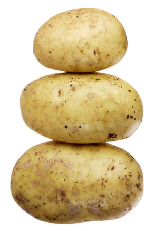 A stock of three potatoes in a shape of a snowman photo