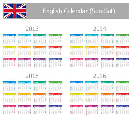 2013-2016 Type-1 English Calendar Sun-Sat on white background Vector