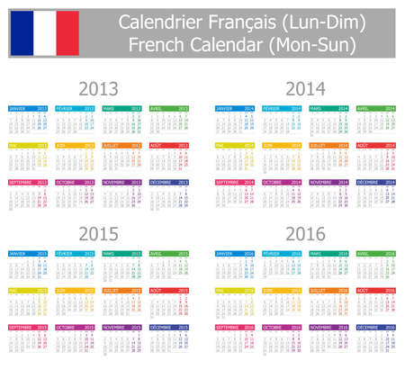 calendrier: 2013-2016 Type-1 French Calendar Mon-Sun on white background