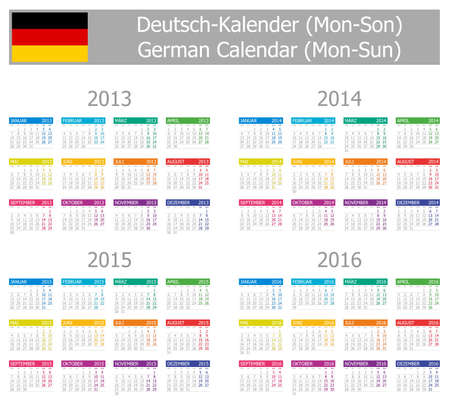2013-2016 Type-1 German Calendar Mon-Sun on white background Illustration