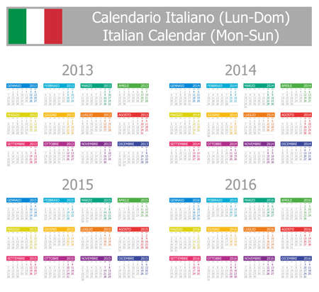 2013-2016 Type-1 Italian Calendar Mon-Sun on white background Vector