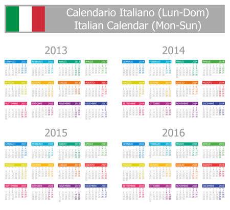 2013-2016 Type-1 Italian Calendar Mon-Sun on white background