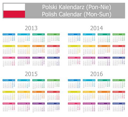 2013-2016 Type-1 Polish Calendar Mon-Sun on white background Illustration
