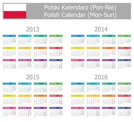 2013-2016 Type-1 Polish Calendar Mon-Sun on white background Illustration