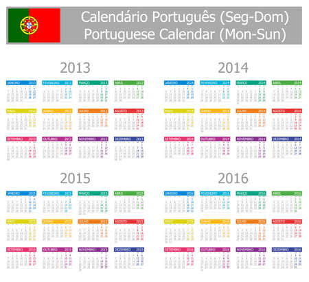 2013-2016 Type-1 Portuguese Calendar Mon-Sun on white background Vector
