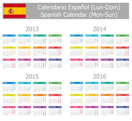 2013-2016 Type-1 Spanish Calendar Mon-Sun on white background Illustration