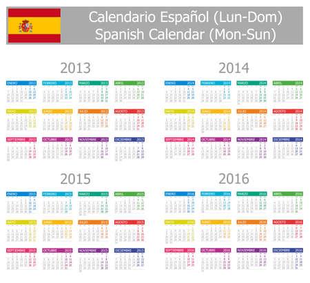 2013-2016 Type-1 Spanish Calendar Mon-Sun on white background Vector