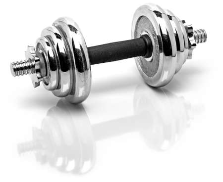 silver fitness weights with reflection on a white shiny surface