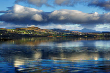 Beautiful evening landscape of the Currane Lake in County Kerry, Ireland
