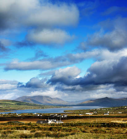 A beautiful Irish landscape seen from The Foilnageragh Cliffs in County Kerry, Ireland with Valentia Island on the left