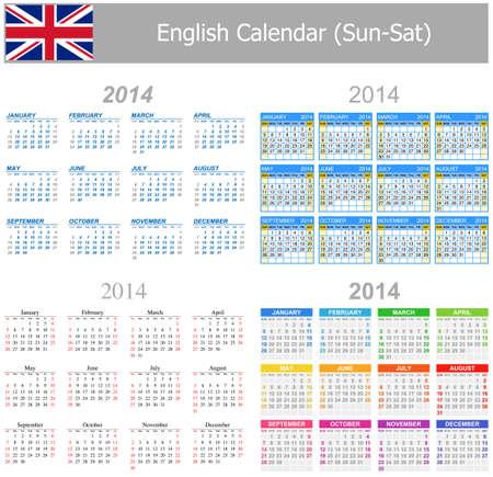 2014 English Mix Calendar Sun-Sat photo
