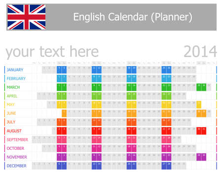 planner: 2014 English Planner Calendar with Horizontal Months Stock Photo