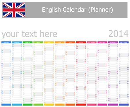 2014 English Planner Calendar with Vertical Months Stock Photo