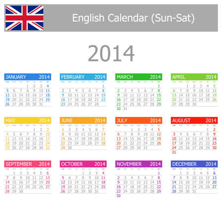 2014 English Type-1 Calendar Sun-Sat Stock Photo