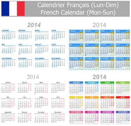 arial: 2014 French Mix Calendar Mon-Sun