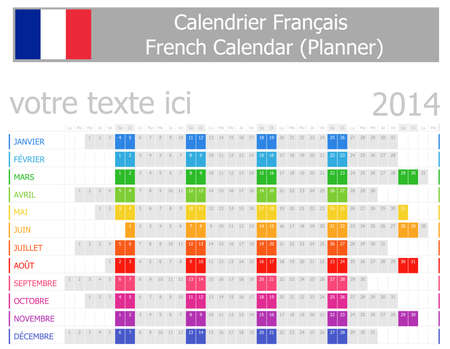 calendrier: 2014 French Planner Calendar with Horizontal Months