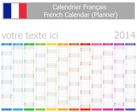 2014 French Planner Calendar with Vertical Months