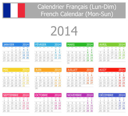 2014 French Type-1 Calendar Mon-Sun